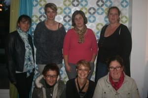 Bureau (de gauche à droite) : Sabrina Honderlik, Aurélie Debot, Virginie Leclerc, Adeline Farge, Nadia Colé, Carine Ricca Giroir et Carine Fouteau.
